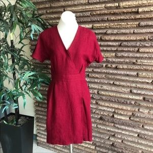 Longchamp Red Hemp Dress Lambskin Epaulets